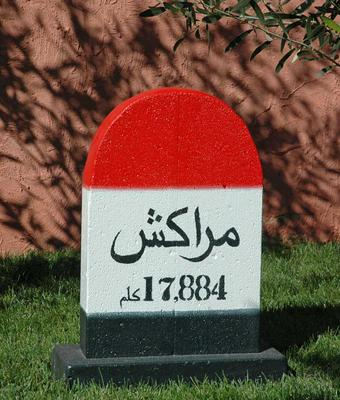 Moroccan mileage marker - Marrakesh